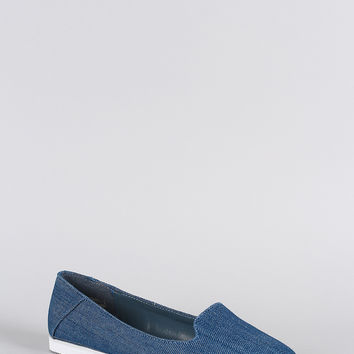 Bamboo Denim Pointy Toe Slip On Loafer Flat