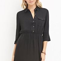 Buttoned-Pocket Shirt Dress