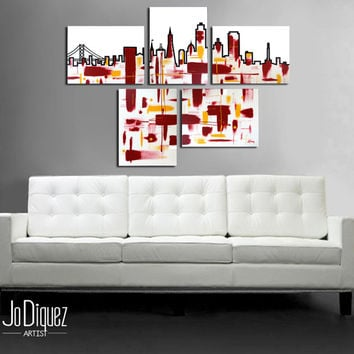 "Made to order. Original abstract painting. 5 piece canvas art. 29x41"" Large painting of San Francisco's skyline. Modern wall art. Fine art."