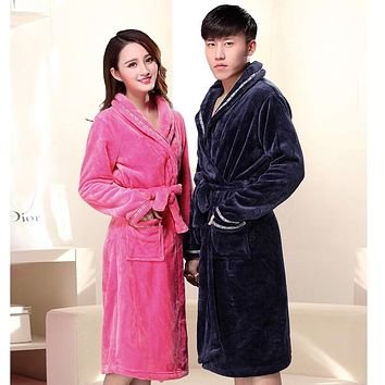 300g Flannel Robe Long Fund Flannel Pajamas Autumn And Winter Men And Bathrobe Coral Down Lovers Live Oneself Family nightgown