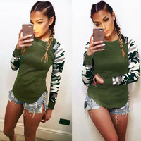TShirt Feminina 2016 Ladies Women's Camouflage Army Long Sleeve Tops T-Shirts Autumn Casual Women's Tees LX073