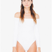 Cotton Spandex Off-Shoulder Long Sleeve Bodysuit | American Apparel