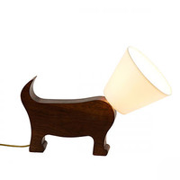 Dog Lamp In Cherry Wood