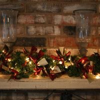 Christmas Garland, Holiday Garland, Christmas Banner, Mantel Decor, Fireplace Decor,Christmas Decor, Tree Garland, Wine Gold Green Garland