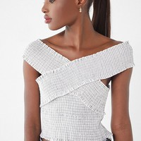 UO Smocked Cross-Neck Top | Urban Outfitters