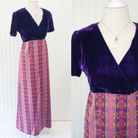 Amelia dress // 1960s royal purple velvet bust folk art textile knit maxi skirt // pigtail girls ethnic Don Juliette // size M