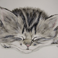 Gray Tabby Kitten original watercolor painting