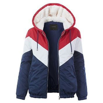 Color Block Zip Up Puffer Jacket with Sherpa Lined Hoodie