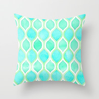 Watercolor Pattern in Aqua, Lime & Mint on White Throw Pillow by micklyn