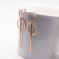 Fashion Earrings Punk Simple Gold Silver  Long Section Tassel Pendant Size Circle Earrings For Ladies Gifts