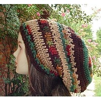 Herbst Patchwork slouchy beanie hat Dreadlocks Hippie Dread Tam fall colors man woman fall snood hat