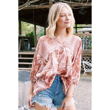 Bonnie Paisley Print Babydoll Blouse, Rust Multi | Extended Sizes Available