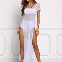 White High Slit Mesh Net Maxi Tee