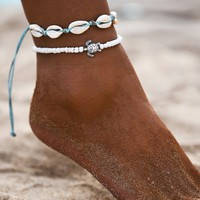 Shell & Bead Decor Anklet 2pcs