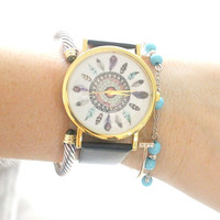 Black Dream Catcher Face Watch
