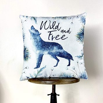 Wild and Free Wolf Pillow Cover | Wolf Decor | Throw Pillow | Animal Lover Gift | |Wilderness | Christmas tree | Christmas Gifts | Mom Gift