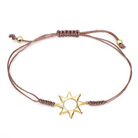 YAN & LEI Sterling Silver Solar Totem Golden Sun Bracelet with Adjustable Tie Pull Fastening