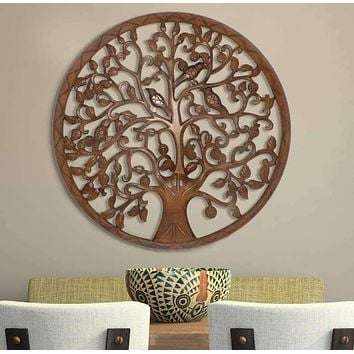 Circular Mango Wood Wall Panel with Cutout Tree and Bird Carvings, Antique Brown By The Urban Port