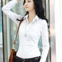 2019 New Fashion Summer Qualitie Women Office Lady Formal Career Long Sleeve Bodycon Collar Shirt Casual Solid White Blouse Tops
