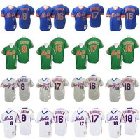 Throwback 8 Gary Carter 16 Dwight Gooden 18 Darryl Strawberry 17 Keith Hernandez Jersey , Men's Mitchell And Ness New York Mets Stitched