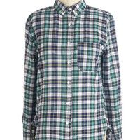 ModCloth Vintage Inspired Mid-length Long Sleeve Button Down Flattered by Patterns Top