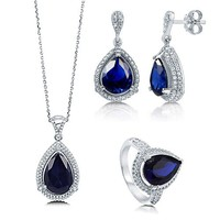 Pear Cut Sapphire Cubic Zirconia CZ 925 Sterling Silver Halo Pendant Necklace Dangle Earrings And Cocktail Ring Matching 3 Pc Set #vs174