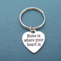 Home is where your your heart is, Sweet, Home, Heart, Keychain, Keyring, New, House, First, Home, Key, Ring, Gift, Jewelry, Accessories