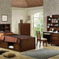 5 pc Phoenix deep walnut finish wood twin storage bedroom set