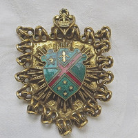 Vintage Heraldic Brooch Crown and Fleur di Lis French Style Pin