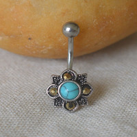 Sale-turquoise belly button ring rocker belly button jewelry,girlfriend belly ring,navel ring