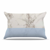 """Suzanne Carter """"Marble And Blue Block"""" Modern Gray Pillow Case"""