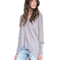 Sen Collection Mya V Neckline Top in Light Grey | ShopAmbience