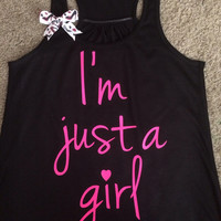 I'm Just a Girl - Racerback tank - Bible verse - Motivational Tank - Womens fitness Tank - Workout clothing