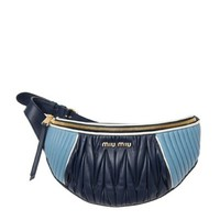 Miu Miu Baby Blue and Navy Nappa Leather Fanny Pack Pouch Handbag 5BL008