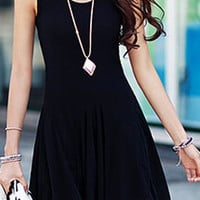 Black Sleeveless A-Line Dress