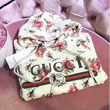 ''Gucci'' Popular Women Floral Letter Print Hoodie Long Sleeve Top Sweater I