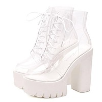 Transparent Platform Lace Up Boots