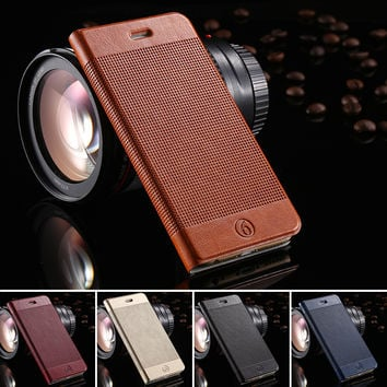 Fashion Plaid Luxury Genuine Leather Case for iPhone 6 Plus 5.5 inches with Stand and Card Slot