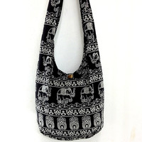 Handmade Cotton Printed bag Elephant bag Hippie Hobo bag Boho bag Shoulder bag Sling bag Messenger bag Tote bag Crossbody Purse - Black