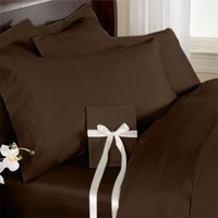 "Elegant Comfort ® 1500 Thread Count WRINKLE RESISTANT ULTRA SOFT LUXURIOUS 4 pcs Bed Sheet Set, Deep Pocket Up to 16""- Many Size and Colors , Queen, Chocolate Brown"
