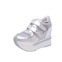 Women wedge shoes thick soled casual breathable height increasing platform shoes chaussure femme Outdoor Shoes Black Silver