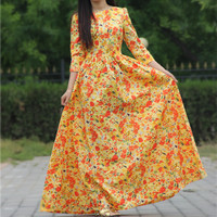2015 women summer style beach print dress cotton maxi dresses 3/4 sleeve o-neck sexy casual cute party
