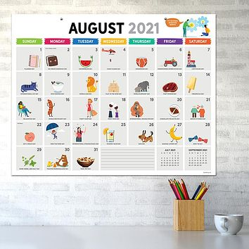 July 2021-June 2022 Every Day's A Holiday Large Desk Pad Monthly Blotter Calendar