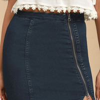 Free People This Way or That Medium Wash Denim Mini Skirt