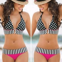 Brazilian Sexy Swimwear Bandage Women Halter Swimsuit Padded Swimwear Pink Bikini Polka Dot Bikini Set Bathsuit Beachwear