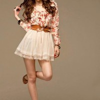Hot Sale Lady's Vogue Floral Gauze Patch Long Sleeve Dress