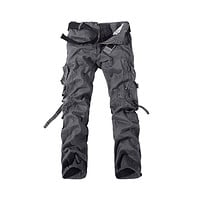 Fashion Mens Work Trousers Military Army Cargo Camo Combat Multi-pocket Pants   gray