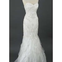 Strapless Ivory Beaded Tulle Sweetheart Style Mermaid Hem Wedding Gown