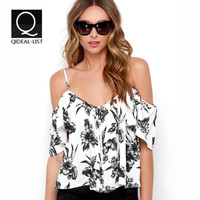 Qideal-L 2016 New Summer Style Crop Tops V Neck Ruffle Chiffon Spaghetti Strap Draped Hollow Out Women Tank Top Casual Plus Size