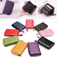 New 1Pc Mens Womens Leather Mini Slim Wallet ID Credit Card Holder Case Organizer Purse